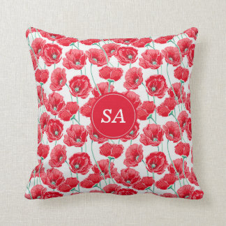 Red Poppies Back to School Dorm Essentials Cushion