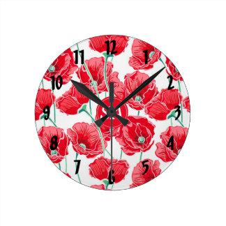 Red Poppies Back to School Dorm Essentials Round Clock