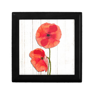 Red poppies barn wood background poppy barn wood gift boxes