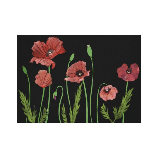 Red poppies bending in the breeze canvas print