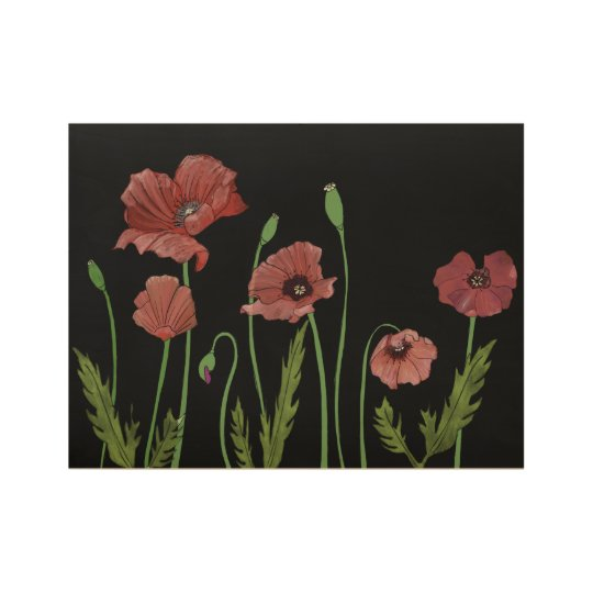Red poppies bending in the breeze wood poster