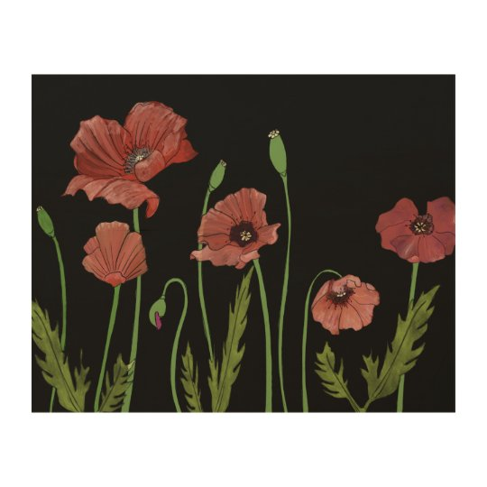 Red poppies bending in the breeze wood wall decor