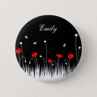 Red poppies black background 6 cm round badge
