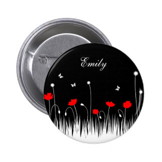 Red poppies black background 6 cm round badge