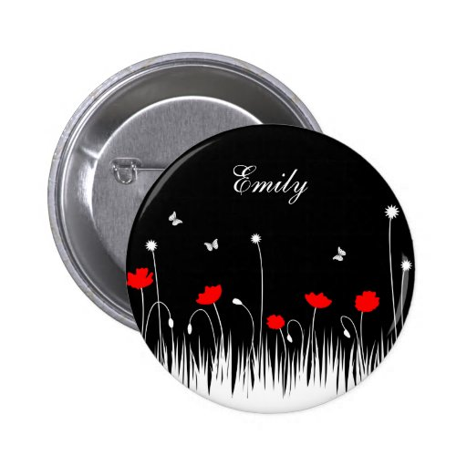 Red poppies black background buttons
