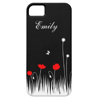 Red poppies black background iPhone 5 cases