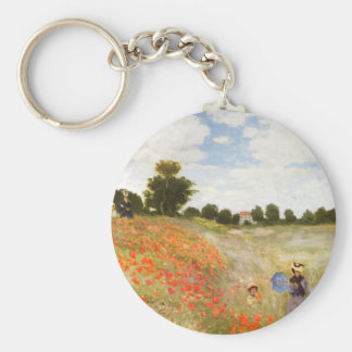 Red Poppies Blooming - Claude Monet Basic Round Button Key Ring