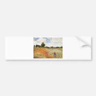 Red Poppies Blooming - Claude Monet Bumper Sticker