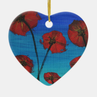 Red Poppies blue sky Ceramic Heart Decoration