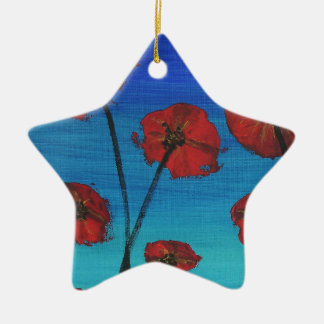 Red Poppies blue sky Christmas Ornament