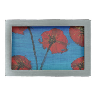 Red Poppies blue sky Rectangular Belt Buckle