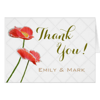 Red Poppies Bridal and Wedding Thank You Note Card