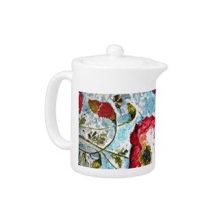 Red Poppies Bumblebee Watercolor Art Teapot
