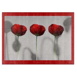 Red Poppies Cutting Board