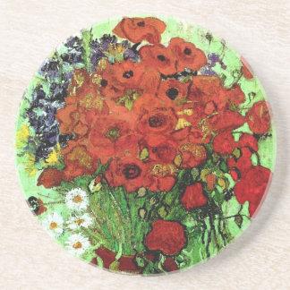 Red Poppies & Daisies Van Gogh Fine Art Coasters