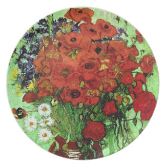 Red Poppies & Daisies Van Gogh Fine Art Party Plates