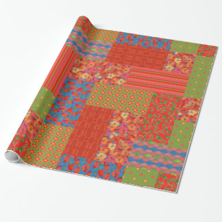 Red Poppies Faux-patchwork Wrapping Paper