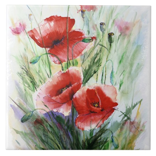 Red Poppies, Fine Watercolor by N.Stangrit Large Square Tile