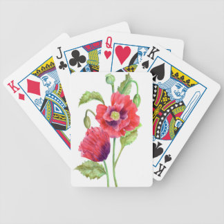 Red Poppies Floral Art Bicycle Playing Cards