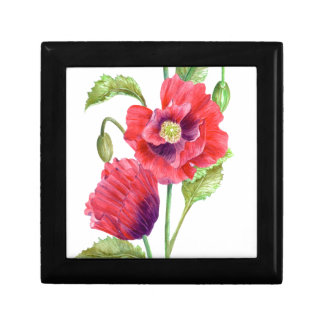 Red Poppies Floral Art Gift Box