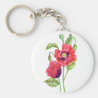 Red Poppies Floral Art Key Ring