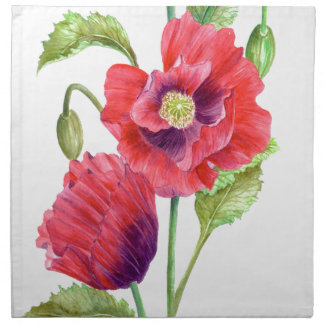 Red Poppies Floral Art Napkin
