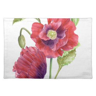 Red Poppies Floral Art Placemat