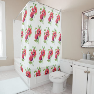 Red Poppies Floral Art Shower Curtain