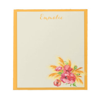 Red Poppies / Floral on Yellow / Orange Notepad