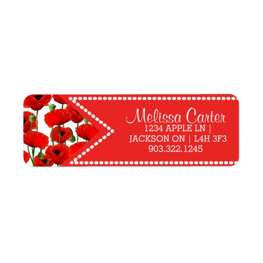 Red Poppies Floral Pattern & Dotted Ribbon
