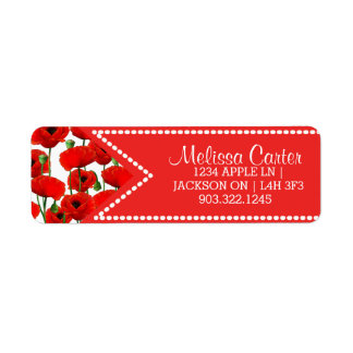 Red Poppies Floral Pattern & Dotted Ribbon Return Address Label