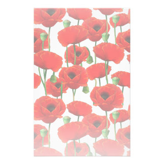Red Poppies Floral Pattern Stationery