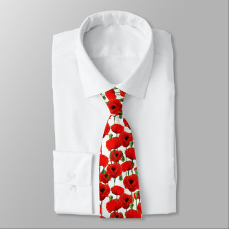 Red Poppies Floral Pattern Tie