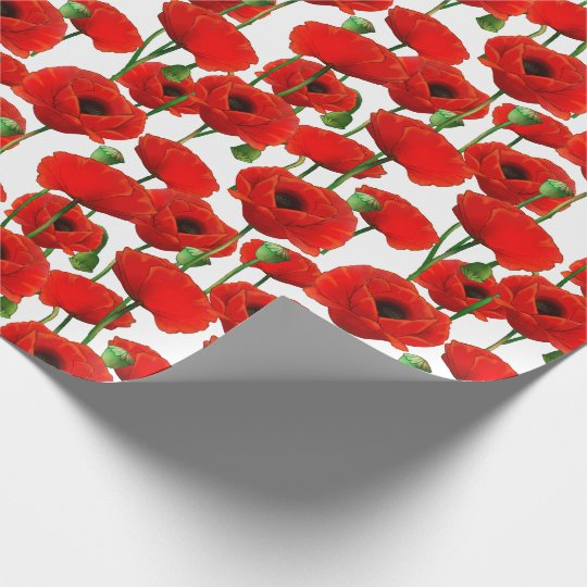 Red Poppies Floral Pattern Wrapping Paper