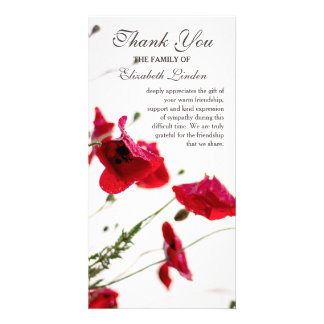 Red Poppies | Floral Sympathy Thank You Personalised Photo Card
