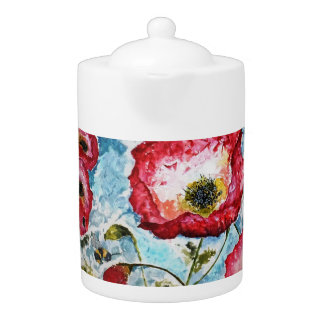 Red Poppies Floral Watercolor Art Teapot