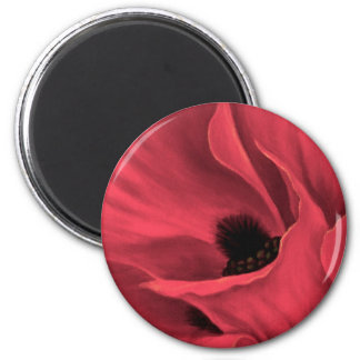 Red Poppies Flower Art Painting - Multi 6 Cm Round Magnet