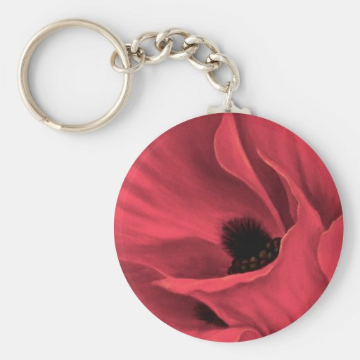 Red Poppies Flower Art Painting - Multi Basic Round Button Key Ring