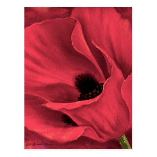 Red Poppies Flower Art Painting - Multi Postcards
