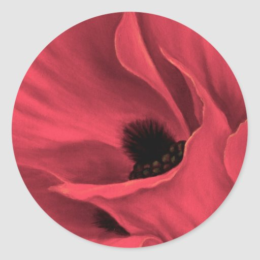 Red Poppies Flower Art Painting - Multi Round Stickers