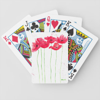 Red poppies flowers trendy traditional flowers bicycle playing cards