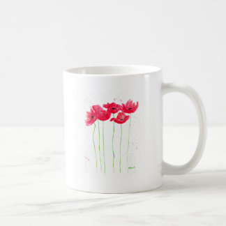 Red poppies flowers trendy traditional flowers coffee mug