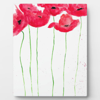 Red poppies flowers trendy traditional flowers plaque