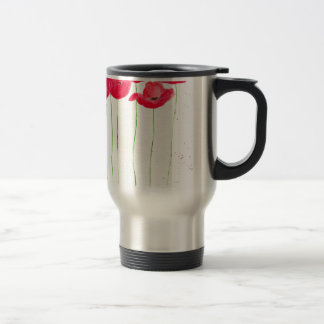 Red poppies flowers trendy traditional flowers travel mug