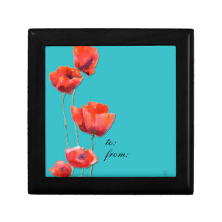 red poppies, gift box, watercolor painting small square gift box