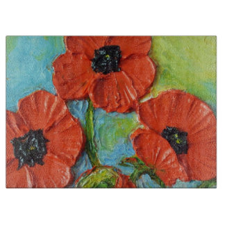 Red Poppies Glass Cutting Board