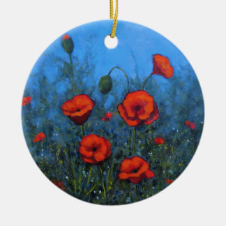 Red Poppies, Hand Painted, Floral Art Christmas Ornament