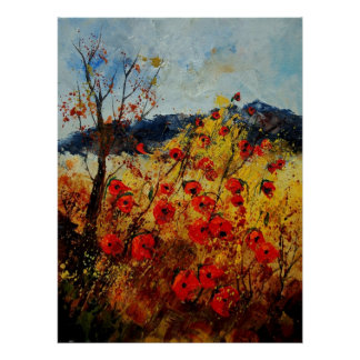Red poppies in Provence 450108 Poster