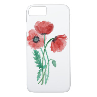 Red poppies in watercolor iPhone 7 case