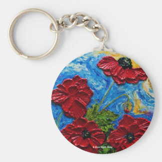 Red Poppies Keychain